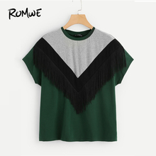 ROMWE Cut And Sew Fringe Top 2019 Fashion Chevron Women Round Neck Clothes T Shirt Colorblock Summer Short Sleeve T Shirt cut and sew tee