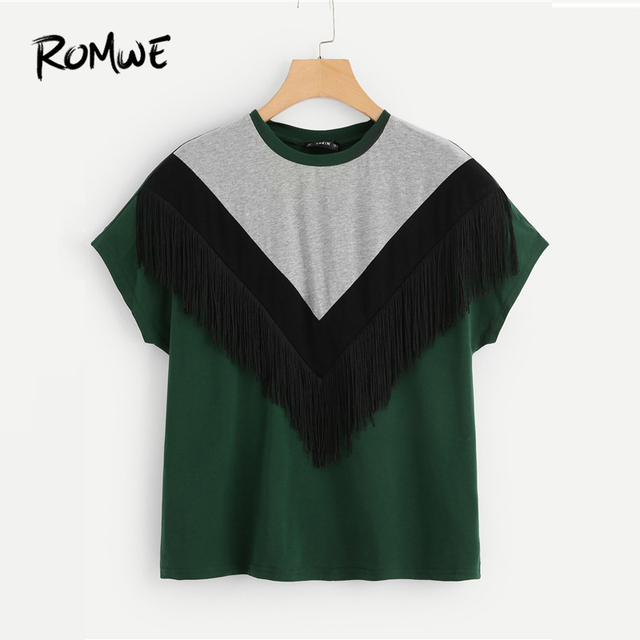 ad0f479e1c247 ROMWE Cut And Sew Fringe Top 2019 Fashion Chevron Women Round Neck Clothes T  Shirt Colorblock Summer Short Sleeve T Shirt