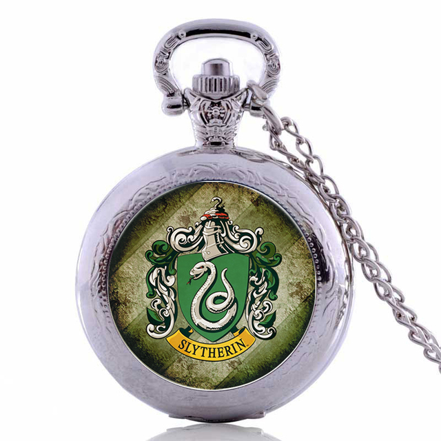 Antique Harry Potter SLYTHERIN Mens Womens Quartz Pocket Watch Analog Pendant 80