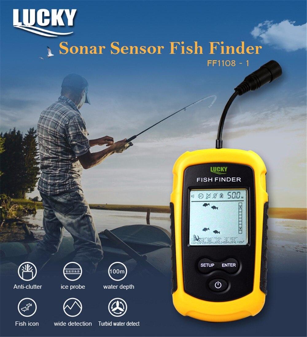 Lucky FF1108-1 détecteur de poisson sans fil Portable Sonar alarme sondeur sondeur écho sondeur 0.7-100 M capteur de Sonar détecteur de transducteur