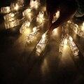 2 М Мини 20 led 3xAA батареи Карты Фото клип строка огни Рождественские огни новый год партия свадебные украшения фея огни