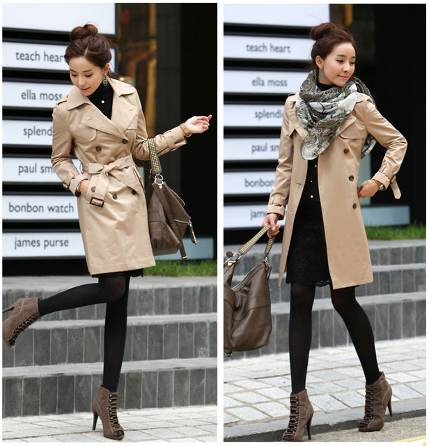 bb9789f191c0 2014 New Fall Winter Fashion Women Double Breasted Korean Style Slim Trench  Coat Black Khaki S~XXL With Belt Free Shipping 01017