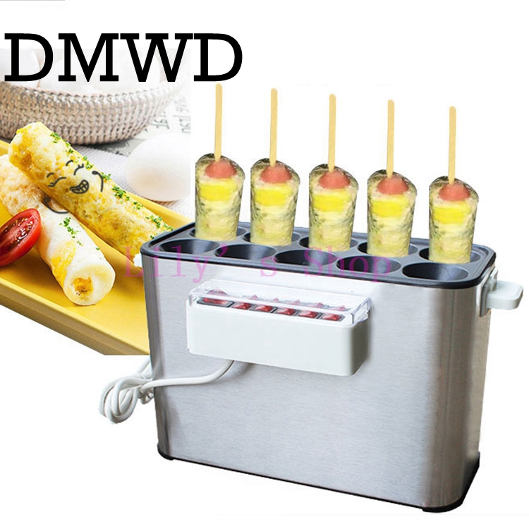 DMWD 110V/220V Commercial Baked Egg Sausage Maker Hot Dogs Baking Machine Omelet Breakfast Eggs Roll Omelette Master EU US Plug