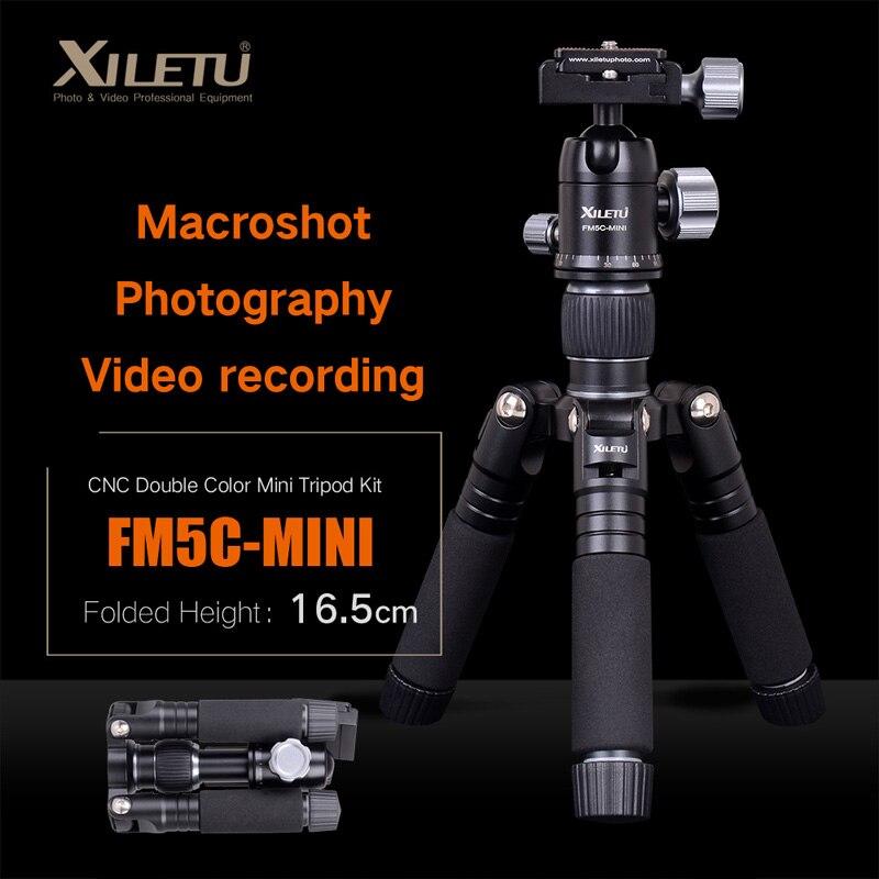XILETU FM5C-MINI trépied de bureau de table Stable en aluminium et tête à bille pour appareil photo numérique sans miroir téléphone intelligent