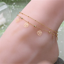 Bohemia Rose Ankle Bracelet Hollow Rose Flower Gold Chain Anklet Foot Chain Bracelets Foot Jewelry For women Barefoot Beach
