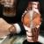 Nuevo Llega La Moda Reloj Del Amante Hombres Mujeres de Café de Oro de Cuarzo Reloj de Pulsera Noctilucentes Amantes Analógicas Reloj Par de Parejas Regalo