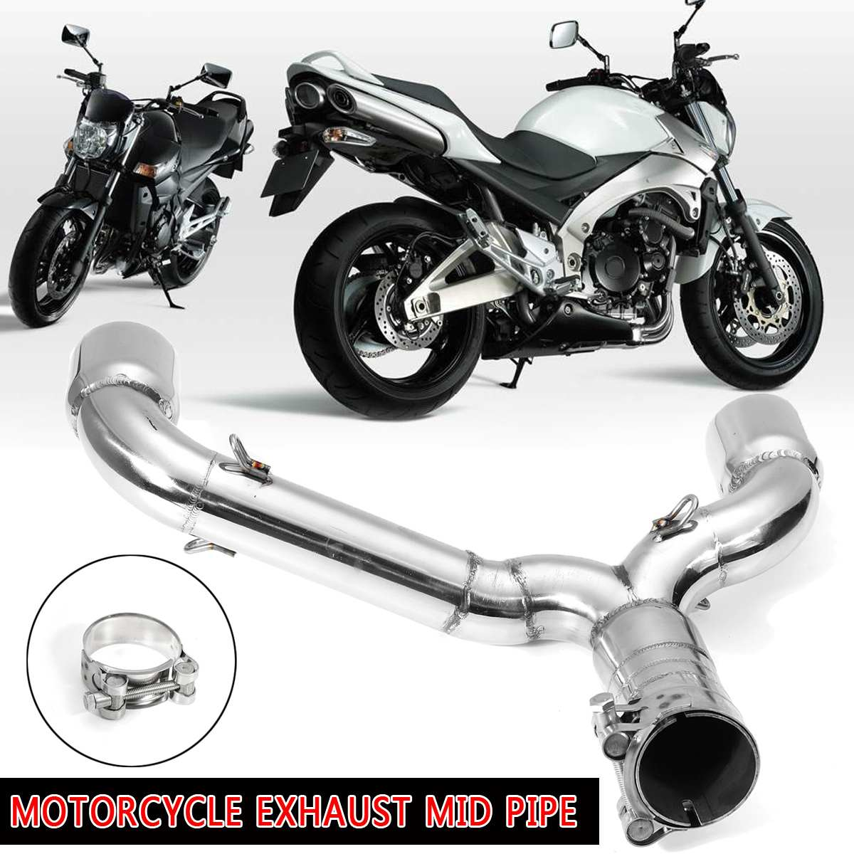 For <font><b>Suzuki</b></font> GSR400 <font><b>GSR600</b></font> BK400 600 Motorcycle <font><b>Exhaust</b></font> Stainless Steel Middle Pipe Muffler Link Adapter Silencer image