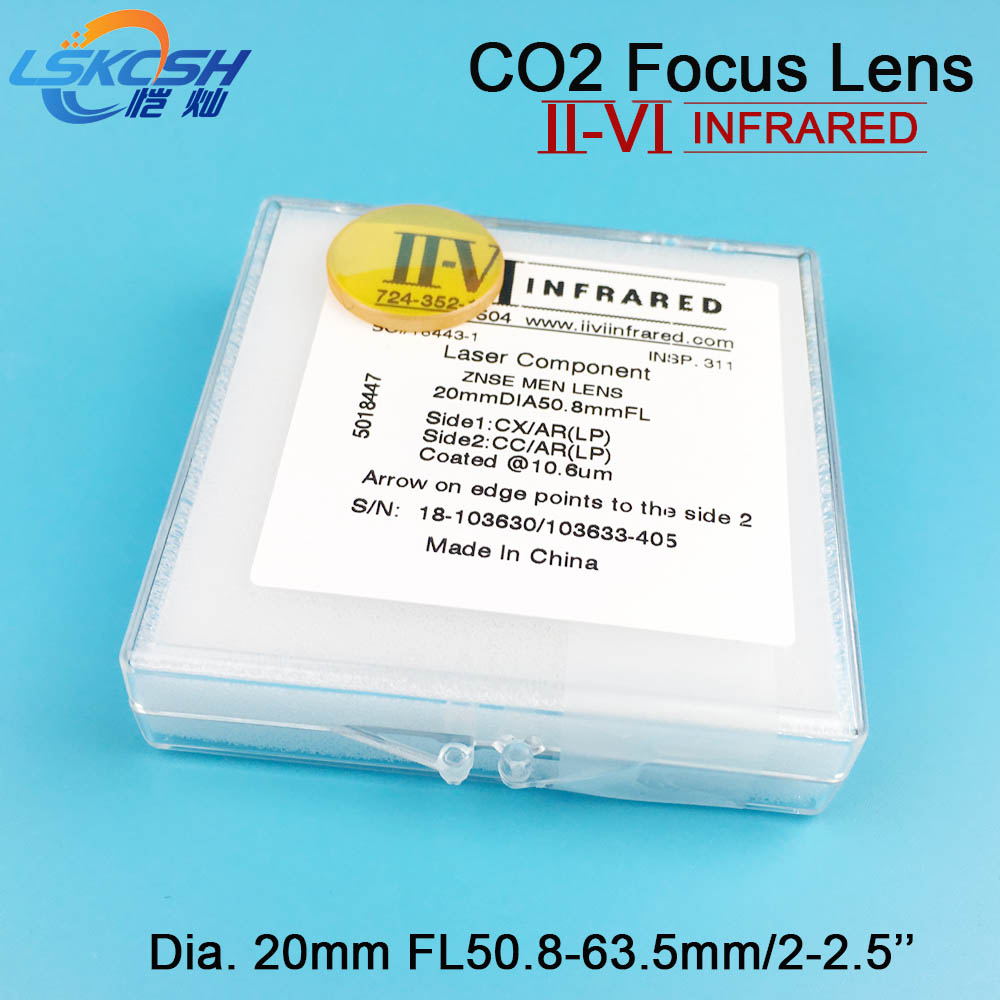 LSKCSH II-VI USA ZnSe Focus Lens Dia. 20mm FL50.8mm-63.5mm 2-2.5'' for Co2 Laser Engraving Cutting Machine Wholesale Agents want 28mm usa znse focus lens for co2 laser 127mm focal length co2 laser lens