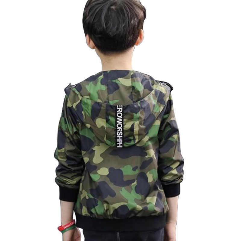 2019 новые модные повседневные пальто для маленьких мальчиков и девочек, камуфляжные пальто на молнии с капюшоном и длинными рукавами