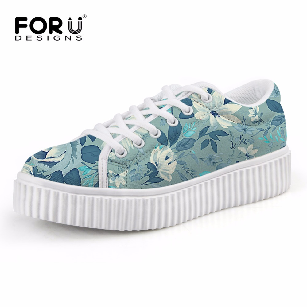FORUDESIGNS Women Flat Platform Shoes Lace up Breathable Ladies Creepers Floral Shoes Trendy School Teen Girls Flats Lightweight summer women shoes casual cutouts lace canvas shoes hollow floral breathable platform flat shoe sapato feminino lace sandals