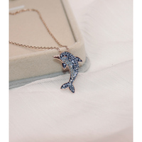 YEAJEWEL cute lovely fashion dolphins shaped full drill zircon pendant necklace rose gold color silver jewelry for women