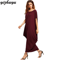 2017 New Large Size Dresses Pure Color Short Sleeve Round Neck Loose Ukraine Vestidos Summer Fashion