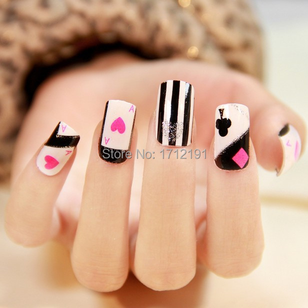 Poker style nail sticker summer nail art water transfer decals ...