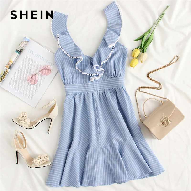 b135f317c7 Aliexpress.com : Buy SHEIN Blue Crochet Pompom Trim Flounce Embellished  Striped Dress 2018 Women Ruffle Deep V Neck Sleeveless Backless Boho Dress  from ...
