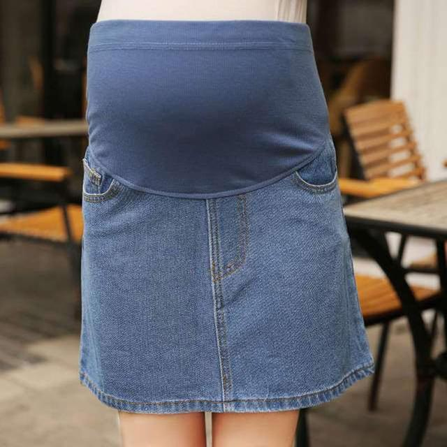Long Denim Maternity Skirt Canvas Cotton Natural Color Casual Solid  Women's Fashion Adorable Handy Maternity