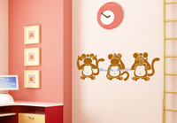 3 Wise Monkeys Wandtattoos Wasserdicht Abnehmbare Klebrigen Vinyl Wandaufkleber Kinderzimmer Kunstwand Vinilos Paredes DIY poster LA169