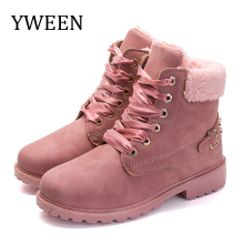 YWEEN Women Boots Lace up Solid Casual Ankle Boots Round Toe Women Shoes winter snow boots Brand Woman Ankle Botas Hard Outsole цены онлайн