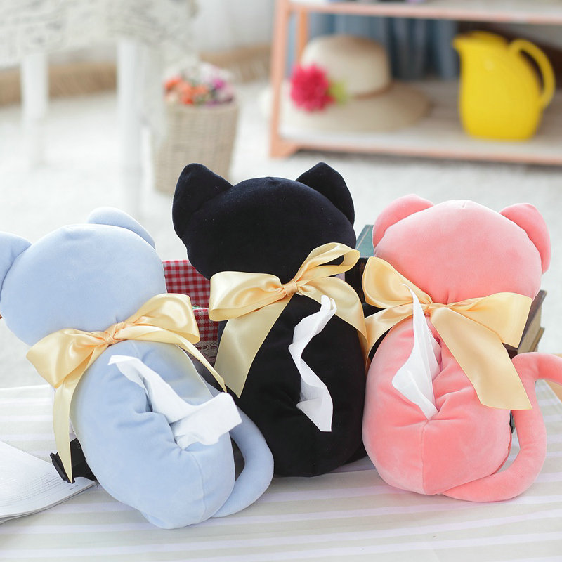 1pc 30cm Lovely Shadow Cat Plush Tissue Box Covers Holder Soft Puppy Paper Storage Paper Box Kids TOY Car Decoration