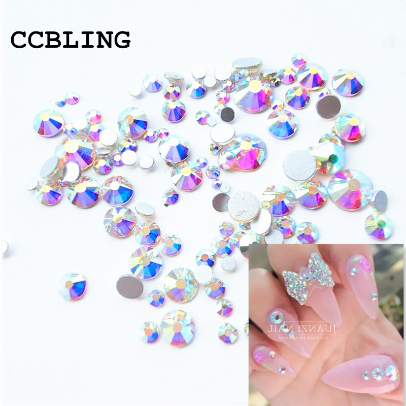 Mix Sizes 10gram  lot Crystal AB Non Hotfix Flatback Rhinestones Nail  rhinestoens For Nails 3D Nail Art Decoration Gems-in Rhinestones    Decorations from ... 5f338a21fc42
