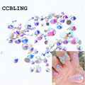 Mix Sizes 10gram /lot Crystal AB Non Hotfix Flatback Rhinestones Nail rhinestoens For Nails 3D Nail Art Decoration Gems