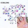 Tamaños de la mezcla 10 gramo/lote Crystal AB Hotfix Flatback rhinestoens Para Clavos de Uñas 3D Nail Art Gemas de La Decoración