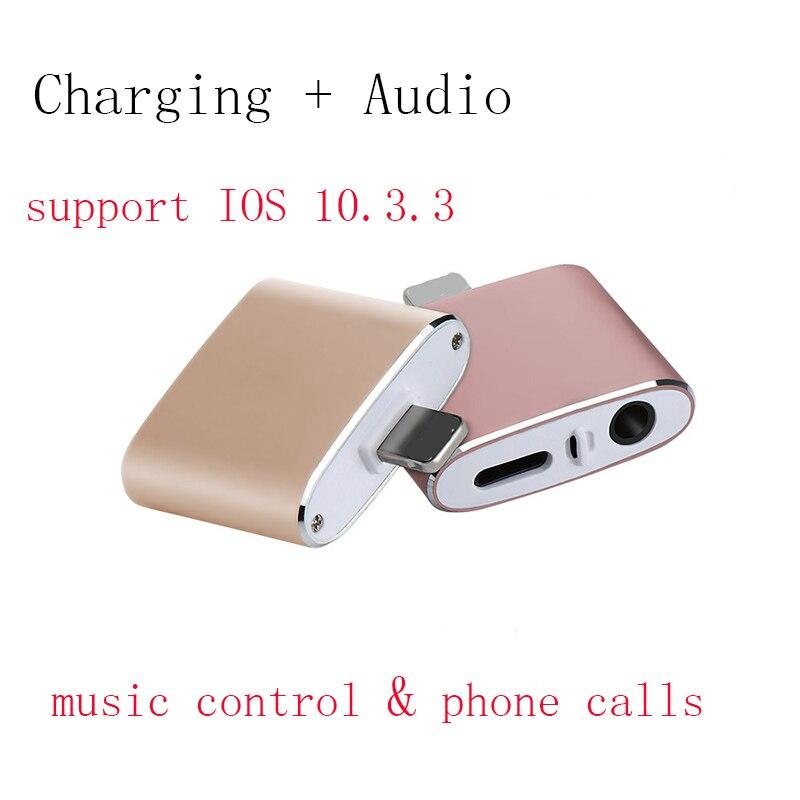 Für iphone 8 adapter lade und 3,5mm kopfhörer Aux Jack Bluetooth Anruf + Audio + Lade splitter für iPhone 7 Plus IOS 11