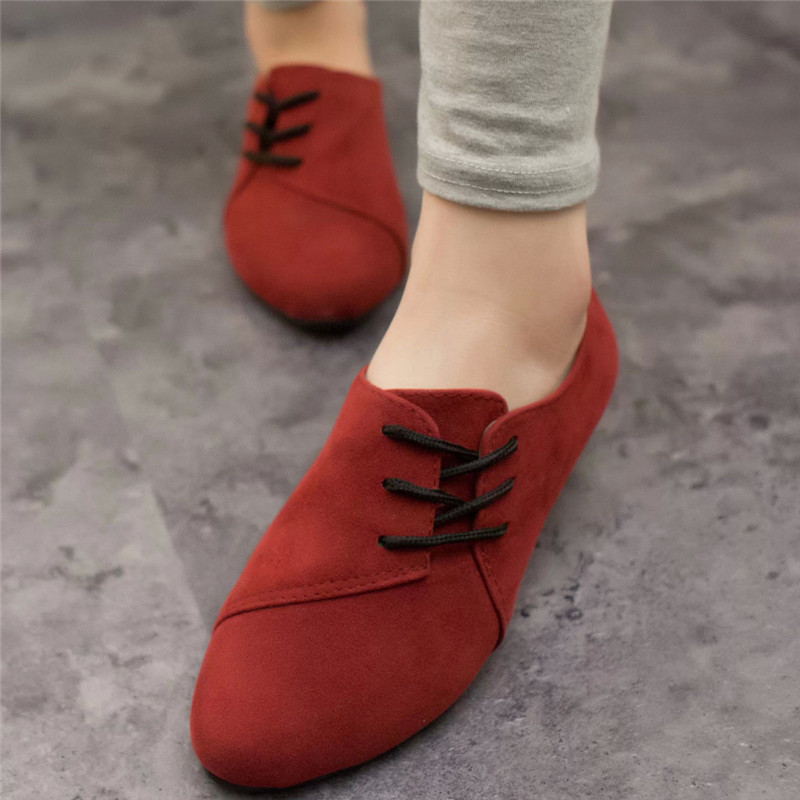 Women Flats Shoes Spring&Summer Retro Lace-Up Casual Shoes Flat Bottom Shoes Woman Sneaker 2019 Student Non-Slip Shoes 79#5