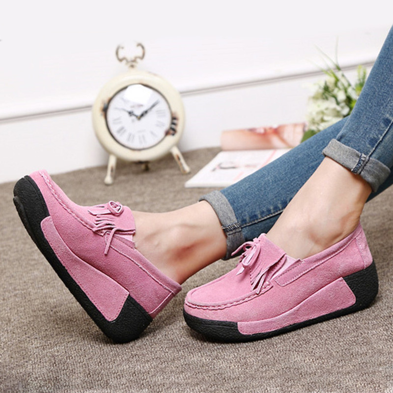 Women Warm Plush Flat Platform Autumn Winter Moccasins Ladies Bowtie Tassels Slip On Comfort Shoes Female Casual Footwear