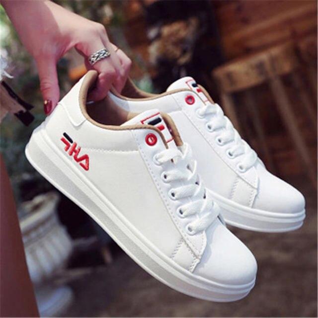KIPERANN Fashion star female casual shoes lace women's flat shoes pink 2018 new women's sports shoes skate shoes