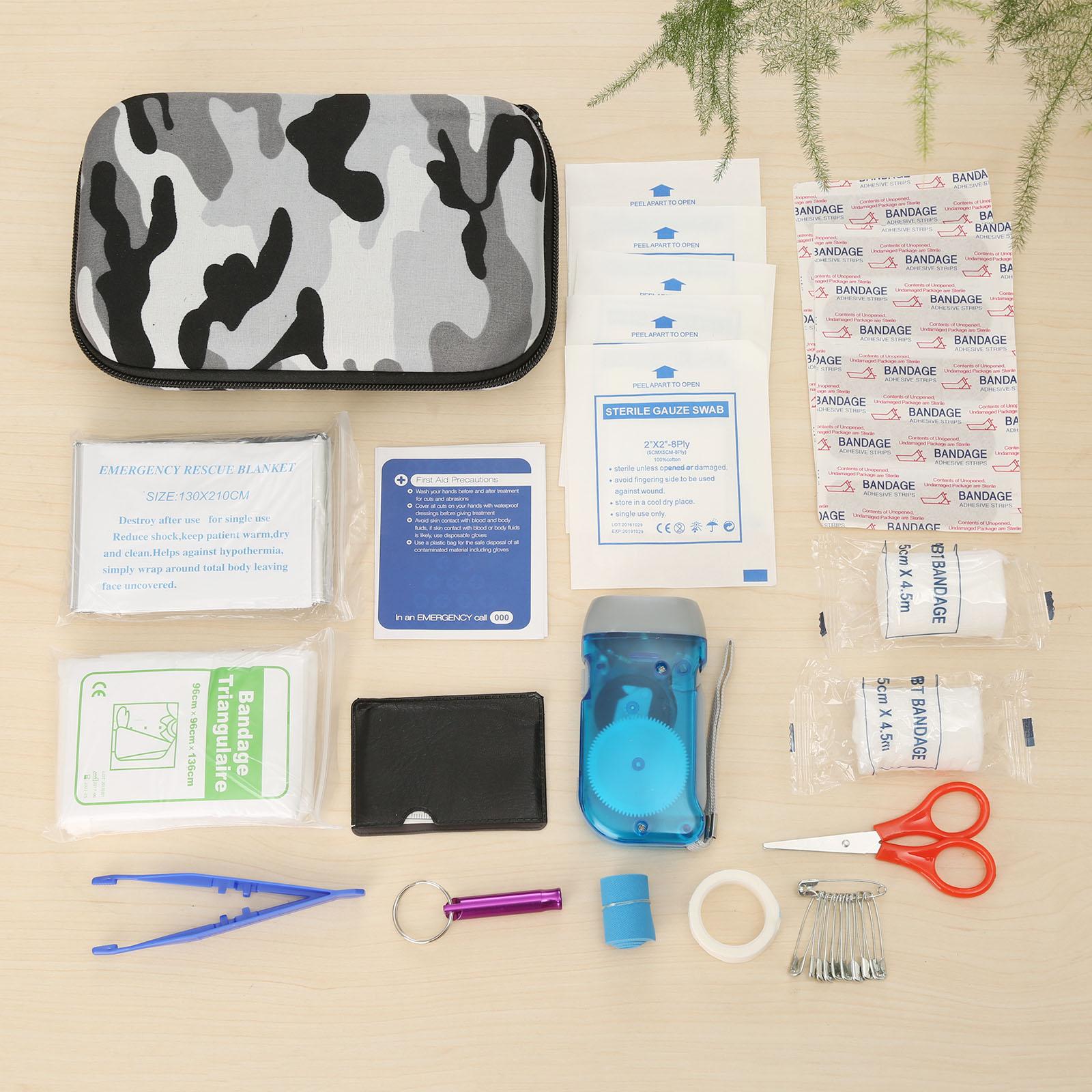 16Sets(39pcs) Travel/Car First Aid Kit Eva Bag Medical Emergency Survival Kits Pouch Portable Treatment Pack 3-color Camouflage
