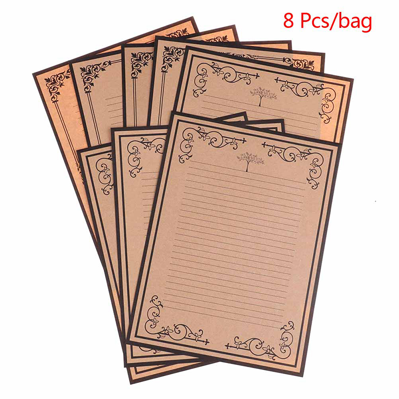 New 8 Sheets/set European Vintage Style Writing Paper Letter Stationery Kraft Office Supplies