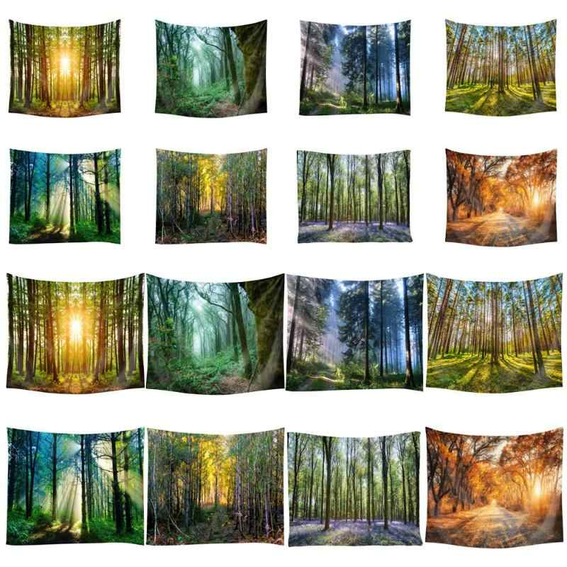 Forest Tree Print Polyester Tapestry Wall Hanging Carpet Yoga Mat Comfortable Trend Home Art Decor Spring/Summer/Autumn/Winter