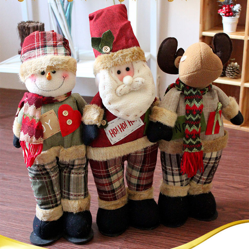 Cute Santa snowman with elk doll to send children Christmas home decoration gift standing Christmas doll