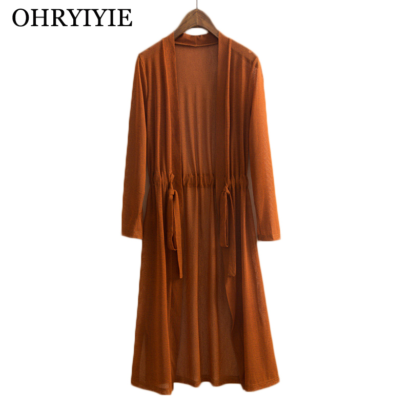 OHRYIYIE Plus Size 5XL Women Cardigan Sweater Poncho Spring Summer Long Loose Knit Cardigans With Belt Ladies Outwear Pull Femme