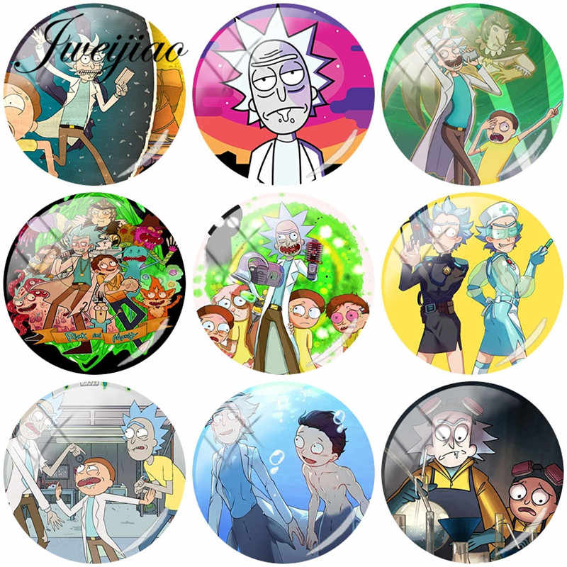 JWEIJIAO Hot Rick And Morty DIY Glass Cabochon Dome Demo Flat Back Making Findings For Bracelet Keychain Earrings Necklace