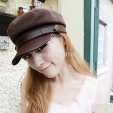 2015 men women classic sailor marine navy felt Cap LEATHER VISOR hat