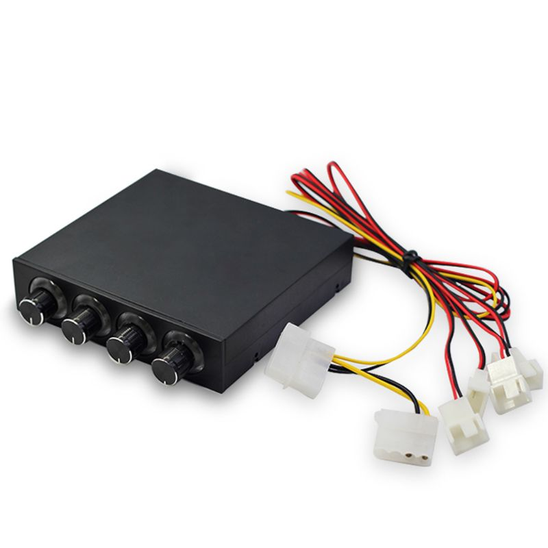 Popular Brand 3.5inch Pc Hdd 4 Channel Speed Fan Controller With Blue/red Led Controller Front Panel For Computer Fans Dec-12b Computer & Office Fan Cooling