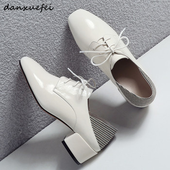 Women's genuine patent leather med heel mules brand designer leisure lace-up espadrilles spring new oxfords high quality shoes