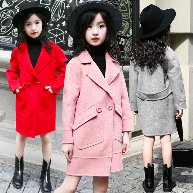 6658dbf521e0 2018 Fashion Girls Autumn Coat Korean Style Trench for Girls ...