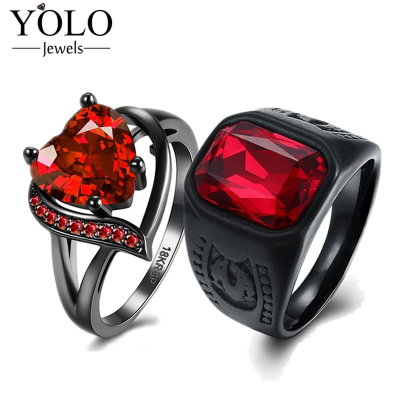 YOLO Jewels Couple Rings Red Party Rings AAA Cubic Zirconia Ring for Women Stainless Steel Ring for Men Love Gift for Couple titanium steel link cubic zirconia studded couple bracelet