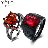 YOLO Jewels Couple Rings Red Party Rings AAA Cubic Zirconia Ring for Women Stainless Steel Ring for Men Love Gift for Couple