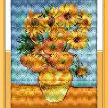 Van Goghs Sunflower Painting Cross Stitch Kits White Canvas