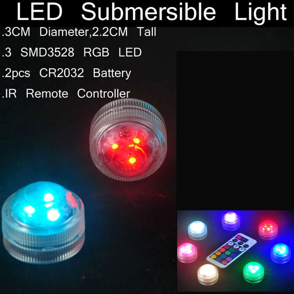 1 set waterproof submersible rgb led light with remote battery operated glass hookah shisha tobacco pipes bong accessories lamps 2