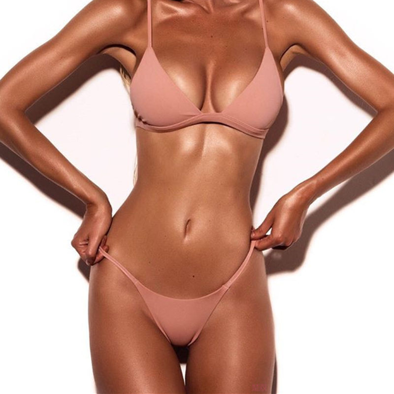 Melphieer Bandage Bikinis Women Swimsuit Push Up Swimwear Women <font><b>2017</b></font> <font><b>Sexy</b></font> <font><b>Bandeau</b></font> Solid Brazilian Bikini Set Beach Bathing Suits image
