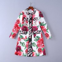 European and American women's wear autumn 2018 The new Long sleeve lapel Rose buttons The peony print Jacquard trench coat