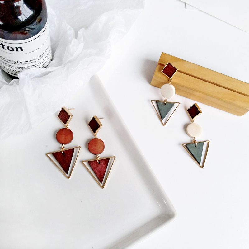 Temperament and contracted geometric triangle circle fashion exquisite earrings earrings eardrop retro fashion women