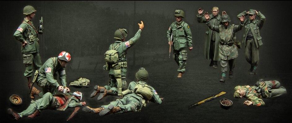 Montaggio Non Verniciato Scala 1/35 figura Storica WWII US Army e soldati Tedeschi Resina Model Spedizione Gratuita