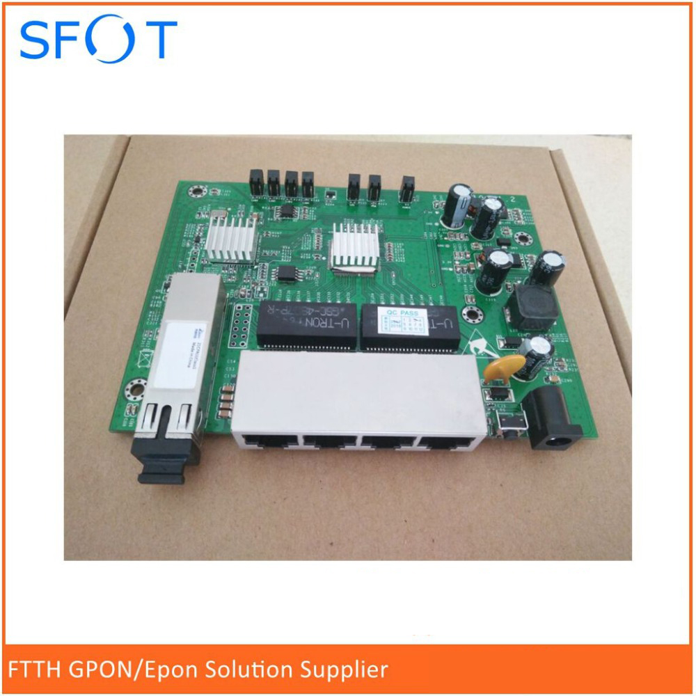 PCB board PD with 4GE ethernet ports reverse POE optical network EPON ONU 4 ports PCB