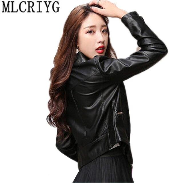 Plus Size New 2019 Spring Autumn PU Leather Jacket Faux Soft Short Black Leather Coat Outwear jaqueta motoqueiro feminina LX49
