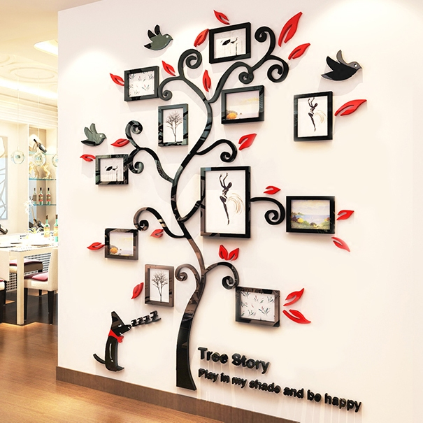 Photos frame tree Creative 3D Acrylic Wall Stickers Cute puppy Bedroom living room DIY Art wall decor sofa wall decoration in Wall Stickers from Home Garden